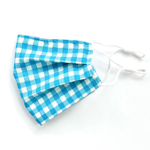 NEW - Sky Blue Gingham Embroidered Mask, youth & adult sizes