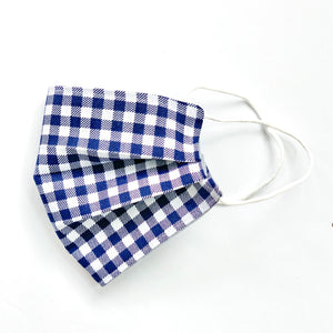 Navy Gingham Embroidered Mask, youth & adult sizes