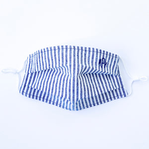 Grey & White Railroad Stripe Monogrammed Mask