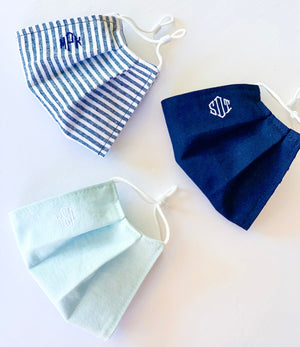 Monogrammed Mask - Dusty Blue