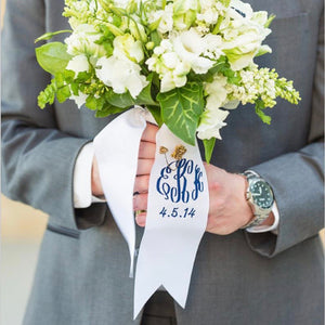 Embroidered Bouquet Wrap with Wedding Date