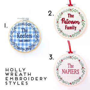 NEW - Family Holly Wreath Ornament