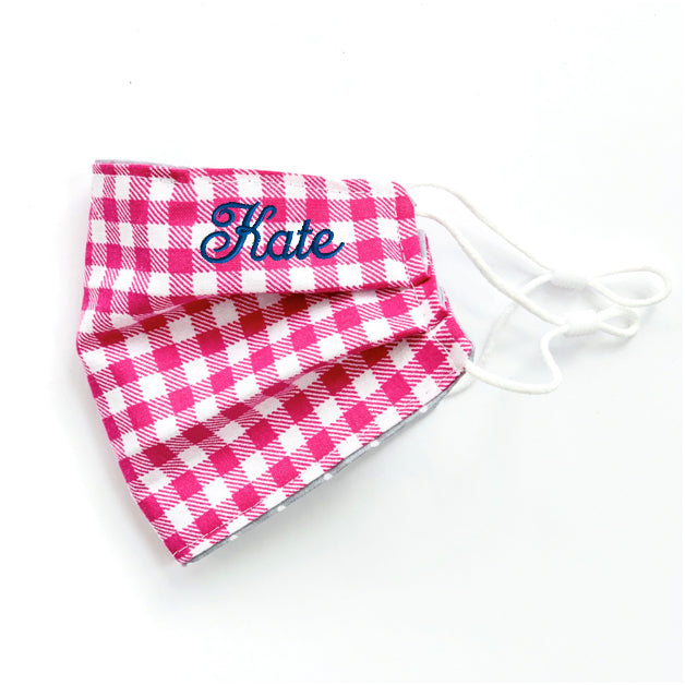 NEW - Pink Gingham Embroidered Mask, youth & adult sizes