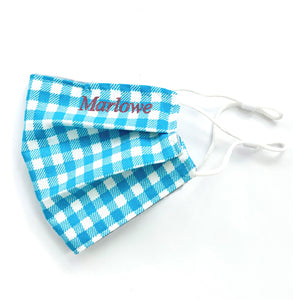 Sky Blue Gingham Embroidered Mask, youth & adult sizes