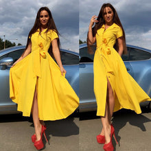 Load image into Gallery viewer, BEFORW 2019 Women Elegant Summer Midi Dress Short Sleeve Turn Down Collar Office Pink Yellow Dresses Casual Party Dress
