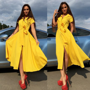 BEFORW 2019 Women Elegant Summer Midi Dress Short Sleeve Turn Down Collar Office Pink Yellow Dresses Casual Party Dress