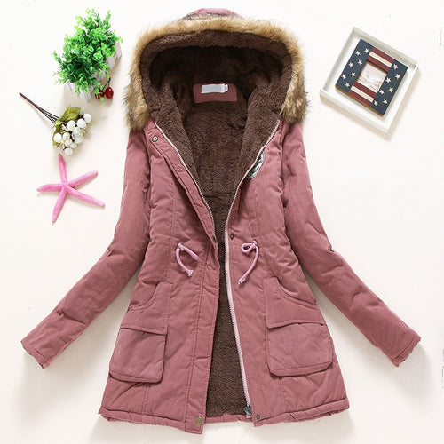 Overcoat Women Winter thick coat Warm Hooded Pockets Slim Faux Fur Parka Jacket Female