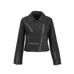 Hirigin Leisure Spring Autumn Ladies Women's Suede Leather Jackets Hot Sale Flight Coat Zip Up Biker Comfort Girl Outwear Jacket