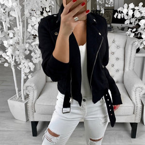 Autumn Women Basic Jackets 2019 Black Slim Lady Jacket Sweet Female Zipper Femme Outwear Plus Size Coats Long Sleeve Jackets 3XL