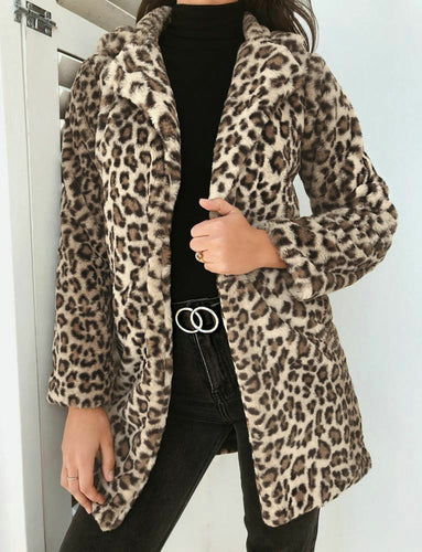 2019 Winter Coat Women Jacket Faux Fur Outwear Warm Fleece Coat Animal Print Streetwear Women Cardigan Leopard Outwears