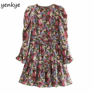 Fashion Women Prairie Chic Multicolor Floral Print Dress Long Sleeve O Neck A-line Mini Dress Autumn vestido OZZ9369
