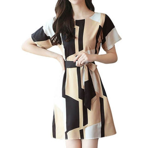 Elegant party dresses women evening 2019 Women Fashion Summer O-Neck Knee Length Short Sleeve Bandage Printing Dress sukienka
