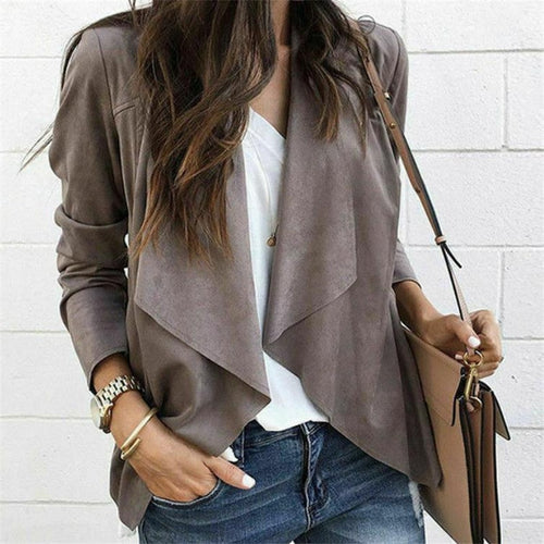 2019 Autumn New Women Jackets Ladies Casual Jackets Long Sleeve Waterfall Cardigan Loose Coat Open Front Suede Jacket Fashion