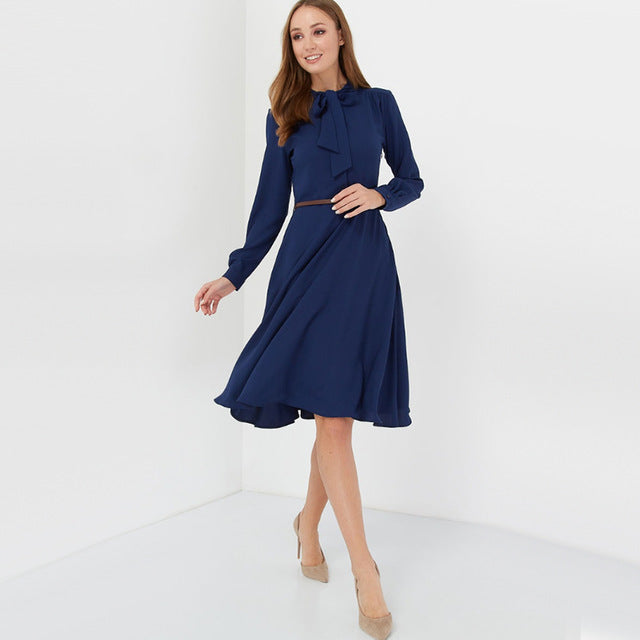 Women Casual Bow Tie a Line Party Dress Ladies Long Sleeve Elegant Office Lady Dress 2019 New Fashion Winter Dress Solid Vintage