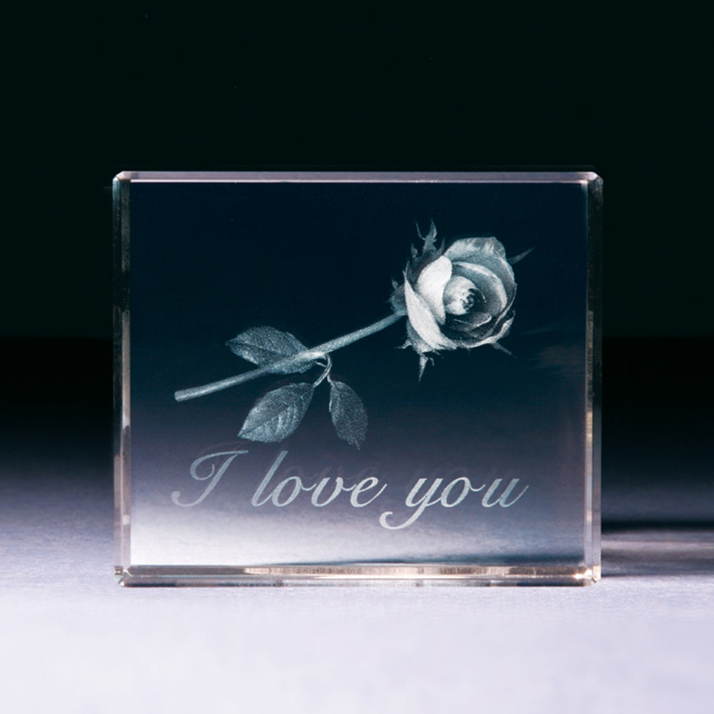 "3D-Glasblock ""Rose - I Love You"""