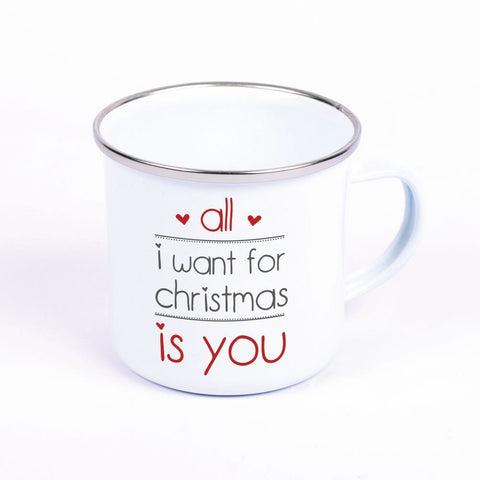 "Metalltasse Emaille Look ""All I want for christmas is you"""