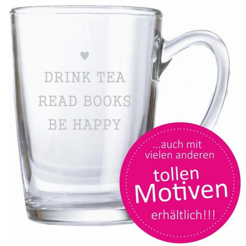 "graviertes Teeglas /Kaffeeglas – ""drink tea, read books, be happy"" mit Herz"
