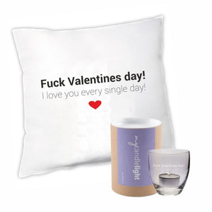 "Kissen + Leonardo Windlicht (in Geschenkbox) Geschenkset ""Fuck Valentines day! I love you every single day!"""