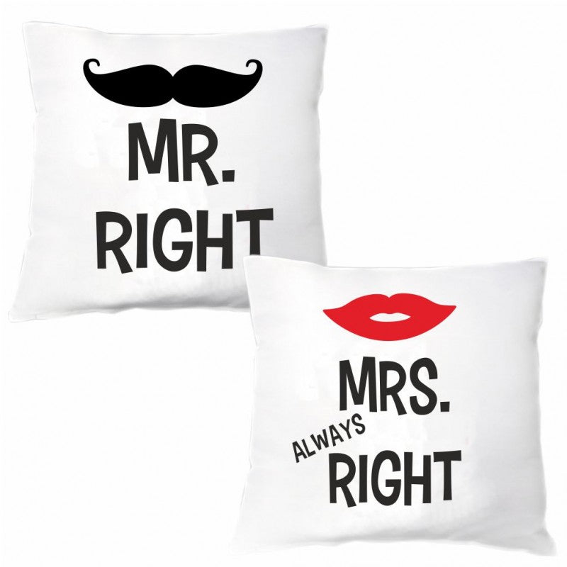 """Kissen Set Mr. Right & Mrs. Always Right"""