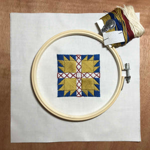 Quilt Block Embroidery Kit | Bear Claw