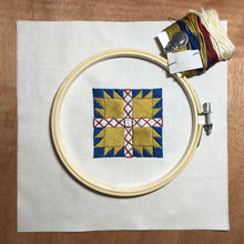 Load image into Gallery viewer, Bear Claw quilt block mini embroidery kit.