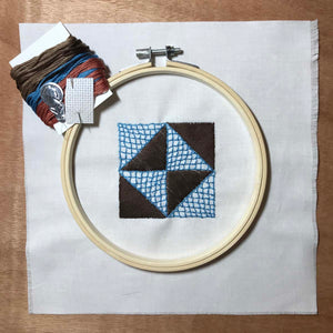 Broken Dishes quilt block mini embroidery kit.