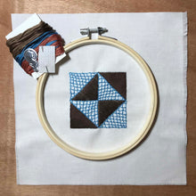 Load image into Gallery viewer, Broken Dishes quilt block mini embroidery kit.