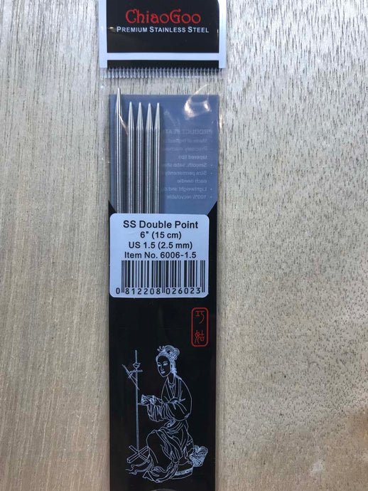 ChiaoGoo Double-Point Needles<BR>US 1.5 - 6-inch