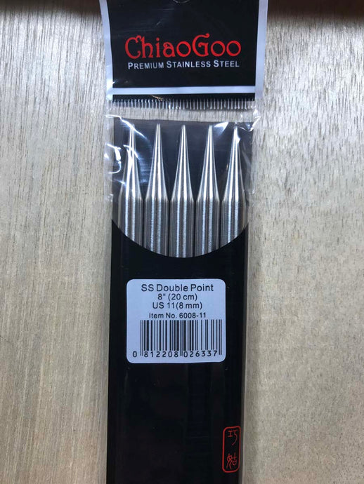 ChiaoGoo Double-Point Needles<BR>US 11 - 8-inch