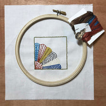 Load image into Gallery viewer, embroidery kit featuring fan quilt block design with hoop, needle and thread