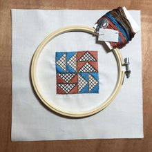 Load image into Gallery viewer, Flying Geese quilt block mini embroidery kit.