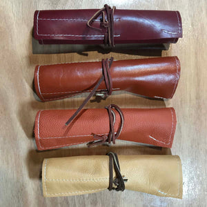 Rabbit & Rocket Leather Roll-Up - Rust Pebble