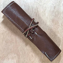Load image into Gallery viewer, Rabbit & Rocket Leather Roll-Up - Deep Brown Pebble