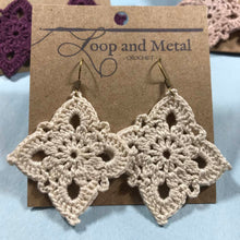 Load image into Gallery viewer, Large Royal Crochet Earring - Eggnog