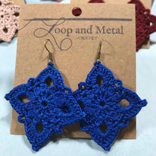 Load image into Gallery viewer, Large Royal Crochet Earrings - Blueberry