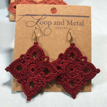 Load image into Gallery viewer, Large Royal Crochet Earrings - Currant