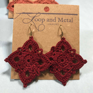 Large Royal Crochet Earrings - Currant