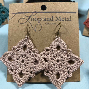 Large Royal Crochet Earrings - Antique