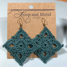 Load image into Gallery viewer, Large Royal Crochet Earrings - Deep Ocean