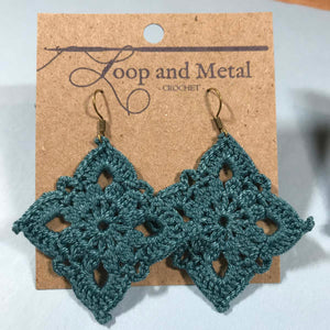 Large Royal Crochet Earrings - Deep Ocean