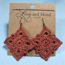Load image into Gallery viewer, Large Royal Crochet Earrings - Clay