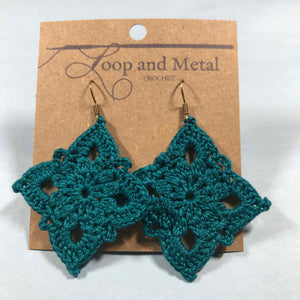 Large Royal Crochet Earrings - Jade Blue