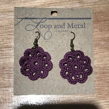 Load image into Gallery viewer, Royal Crochet Flower Earrings