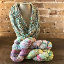 Load image into Gallery viewer, Lancaster Cowl Knit version in Glasstown Countdown colorway.