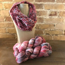Load image into Gallery viewer, Lancaster Cowl Crochet version in Fairfield County Fair colorway.