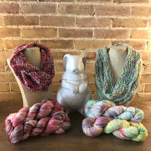 Load image into Gallery viewer, Lancaster Cowl patterns in Crochet (red/gray/white Fairfield County Fair) and Knit (pastel Glasstown Countdown) colorways.