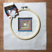 Load image into Gallery viewer, Log Cabin quilt block mini embroidery kit.