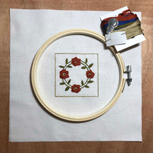 Load image into Gallery viewer, Rose Wreath quilt block mini embroidery kit.