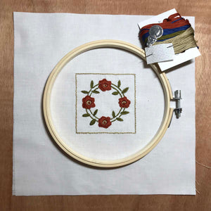 Rose Wreath quilt block mini embroidery kit.