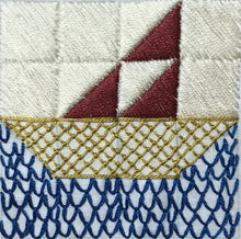Load image into Gallery viewer, embroidered sailboat quilt block design in multiple colors